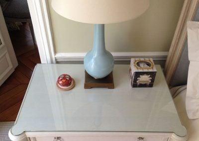 table de chevet laqué blanc